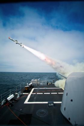 The Ticonderoga-class cruiser USS Princeton (CG 59) successfully launches a Block II Harpoon in the Naval Air Systems Command Sea Test Range off the coast of southern California. (Sept. 10, 2009)