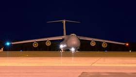 A C-5 on the flight line at Westover Air Reserve Base in Chicopee, MA.