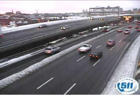 Traffic on Interstate 93 near Bunker Hill College in Boston at around 6:30 a.m., Monday, February 11, 2013.
