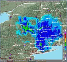 Weather radar map, 6:30am, 2/9/13