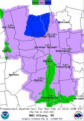 The NWS is forecasting snow, rain, and ice for New York's North Country and Northern New England starting at 10 a.m. on Monday, February 11, 2013.