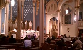 Rev. Timothy McDonnell, Bishop of the Springfield Diocese con-celebrates a mass for the election of a pope at St Michael's Cathedral in Springfield