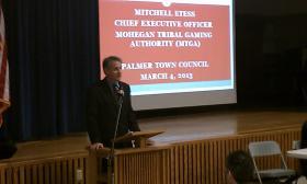 Mohegan Sun CEO Mitchell Etess addresses a public forum in Palmer MA