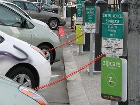 Vehicles at a charging station in San Francisco, CA