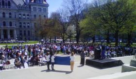 State lawmakers, gay rights advocates and labor and law enforcement officials rally in West Capitol Park, State and Swan streets, Albany.