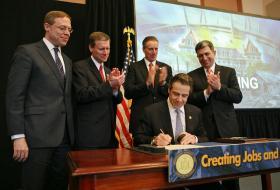 April 3, 2013, Oswego - Governor Cuomo Signs 2013-14 New York State Budget in Oswego.