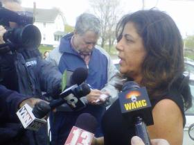 New York City Attorney Susan Chana Lask speaks to the press outside the Coeymans NY courthouse.