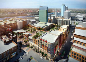 An artist's rendering of the MGM Resort casino project proposed in downtown Springfield, MA.