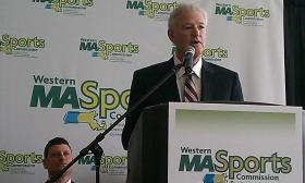 Western Massachusetts Sports Commission Chairman John Heaps speaking at a news conference where the formation of the new commission was announced