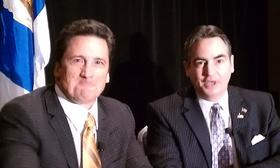 MGM Resorts President Bill Hornbuckle ( left) and Springfield Mayor Domenic Sarno at the May 1,2013 signing of the host community agreement