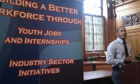 Kyreem Kynard, community activist and youth mentor spoke at the kick off to the summer youth jobs campaign 2013