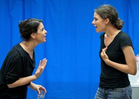 Rehearsal photo - Downtown Race Riot - Left to Right: Annabella Sciorra, Molly Carden