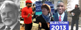 Albany Mayoral hopefuls: Joe Sullivan (C), Marlon Anderson (I), Kathy Sheehan (D), Corey Ellis (D) and Jesse Calhoun (R).