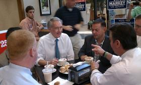 U.S. Rep. Edward Markey (D-MA) with several members of the Massachusetts State Legislature from Springfield and Springfield Mayor Domenic Sarno ( pointing ) at Palazzo Cafe.
