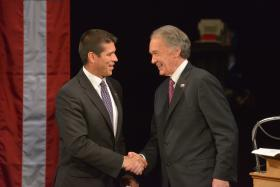 Gabriel Gomez ( on left) and U.S. Rep. Edward Markey (D-MA) shake hands following their debate in Springfield June 11,2013