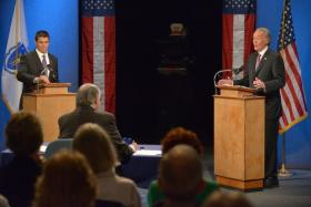 Republican Gabriel Gomez ( on left), and U.S. Rep. Edward Markey (D-MA) debate in Springfield ahead of the June 25th special election for U.S. Senate