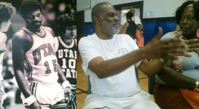 """Albany hoops legend Luther """"Ticky"""" Burdem, then and now. [B&W inset shot from photo in Burden's donated memorabilia ]"""