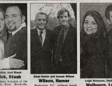 Dean Hamer and Joseph Wilson's wedding announcement, published in the Oil City Derrick newspaper.