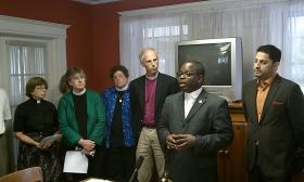 Pastors with the Council of Churches of Western Massachusetts hold a news conference to announce plans to campaign against the Springfield casino referendum