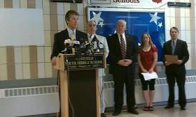 Hampden District Attorney Mark Mastroianni announces that Lewis Lent is responsible for the kidnapping and murder of Jamie Lusher in Westfield, MA more than 20 years ago. Also pictured from left to right are Mass. State Police Col Timothy Albin, State Police Det. Peter Higgins, Lusher's sister Jennifer Nowak and Berkshire D.A. David Capeless