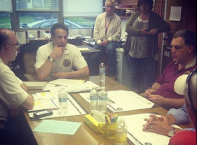 NY Gov. Andrew Cuomo listens to details of #flood damage in #Mohawk at a meeting with local officials #CNY