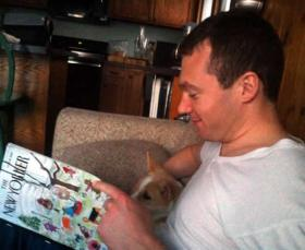 Peter Bellino teaches his dog to read the New Yorker.