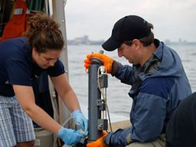 Collecting samples from the lower Hudson River.