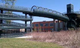 The elevator tower and walkway over railroad tracks will be replaced by a more reliable structure to provide access to the Connecticut River Walk and Bikeway