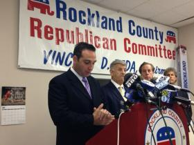 From left to right, Legislator Frank Sparaco; Rockland County Republican Chairman Vincent Reda; Clarkstown Highway Superintendent Wayne Ballard; Clarkstown Republican Committee Chairman Bob Axelrod