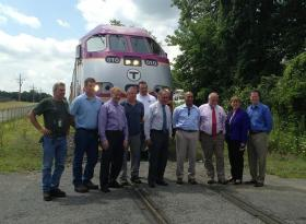 Governor Patrick joins state officials and others in Pittsfield after riding the rails from the Connecticut border along the Housatonic Railroad.