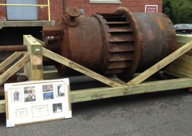 One of the mill's old turbines that's heading to the company's museum.
