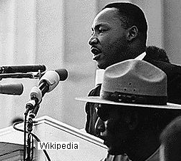 """Gordon """"Gunny"""" Gundrum of Grafton stands near clergyman and activist Martin Luther King, Jr. on August 28, 1963, as King delivered his """"I have a dream"""" speech."""