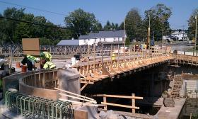 Construction work on the Manhan Bridge in Easthampton, MA is seen in his photo taken in August 2013.
