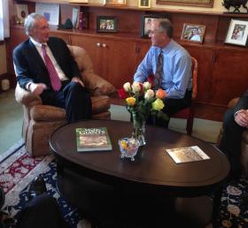 U.S. Senator Edward Markey, left, joined Pittsfield Mayor Dan Bianchi to talk about economic development and public safety.