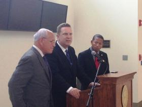 Asst. Secretary Dr. David Danielson (center) at Union College with Congressman Paul Tonko (left) and Union College Chief of Staff Dr. Edward Summers (right).