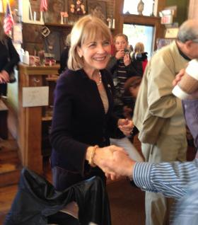 Massachusetts Attorney General Martha Coakley stopped at Dottie's Coffee Lounge in Pittsfield after announcing she's running for Governor in 2014.