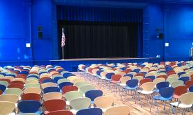 The refurbished auditorium in the Forest Park Middle School