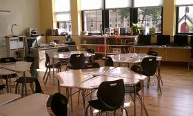A classroom in the newly renovated Forest Park Middle School in Springfield, MA