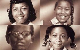 Portraits of the four girls killed Sept. 15, 1963 in the 16th Street Baptist Church bombing in Birmingham, Alabama . Starting at top left: Cynthia Wesley, Carole Robertson, Addie Mae Collins, and Denise McNair.