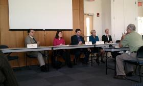 Members of the Massachusetts Legislature's Joint Committee on Higher Education at a public hearing on student loans and debt held at Holyoke Community College