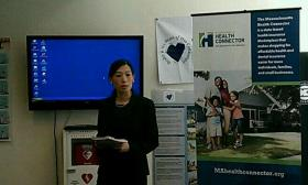 Massachusetts Health Connector Ex. Director Jean Yang talked about the new insurance options available under the Affordable Care Act during a visit to Caring Health Center in Springfield, MA