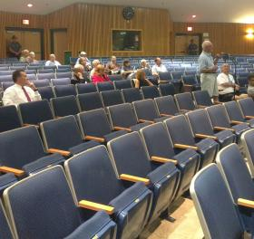 Western Massachusetts residents gathered at Lee High School to weigh in on the proposed reinstatement of tolls from Exit 1 to Exit 6 on the Massachusetts Turnpike. The tolls would be set at the same rates as in 1996, when they were eliminated.