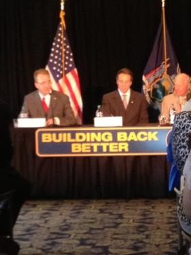 From left to right: Stony Point Supervisor Geoff Finn, NY Governor Andrew Cuomo, NYS Senator Bill Larkin