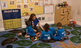 A preschool classroom in Square One's new Family Square center in Springfield, MA