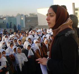 Feb.19, 2007: Malalai Joya visits a girl's school in Farah province in Western Afghanistan.