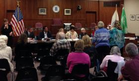 Berkshire residents voice their concerns regarding human services needs to Massachusetts' Joint Committee on Children, Families & Persons with Disabilities in Pittsfield City Hall.