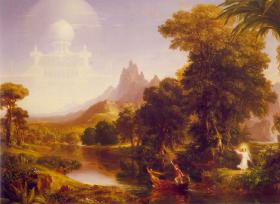 "Thomas Cole, ""Voyage of Life: Youth"", 1840, 52 ½ x 78 ½ in. Munson-Williams-Proctor Arts Institute, Utica, NY."