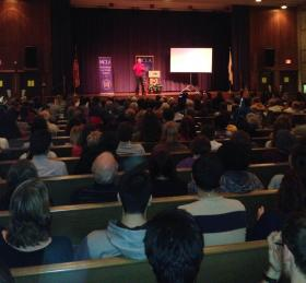 People packed the Eleanor Furst Roberts Auditorium at MCLA to hear Corwin speak.