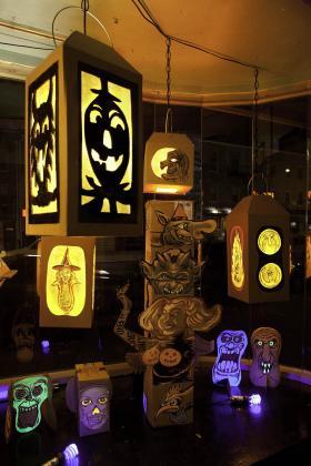 Gary Leib's Halloween window at Desert Island Comics in Brooklyn in 2011.