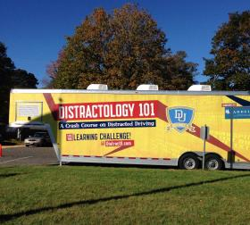 The mobile classroom travels across New England to educate young drivers about the dangers of distracted driving.